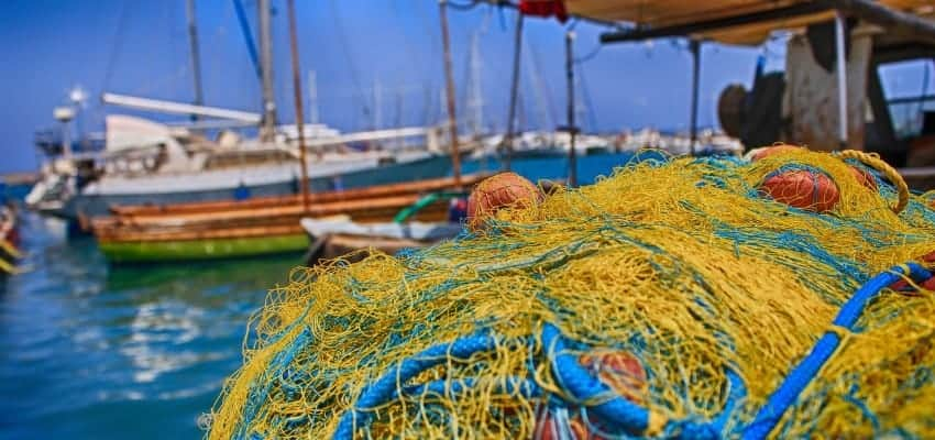 Ship in harbor with net